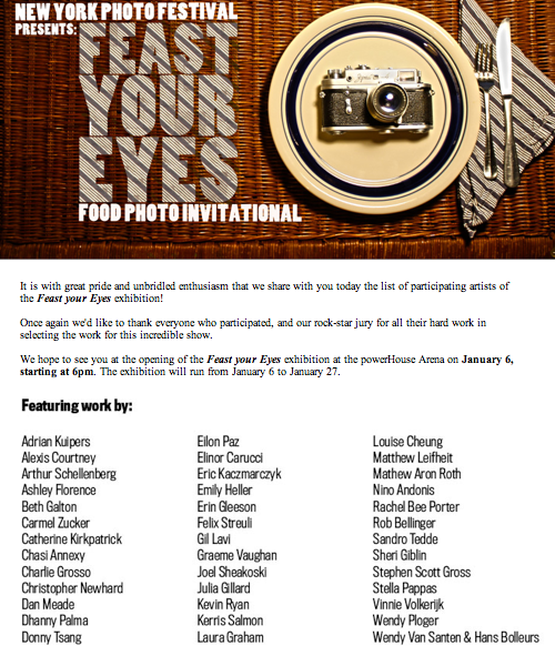New York Photo Festival Feast Your Eyes invitation
