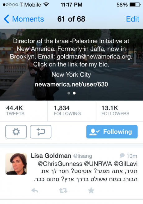 """Autistic. Moron. Shut the Fuck Up"". Lisa Goldman, Director, New America Foundation"
